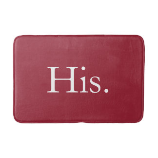 Mens His Red and White Typogrpahy Bath Mats