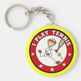 Mens I Play Tennis Tshirts and Gifts Basic Round Button Key Ring