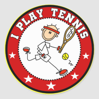 Mens I Play Tennis Tshirts and Gifts Round Sticker