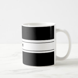Mens Masculine Simple Black White Custom Monogram Coffee Mug