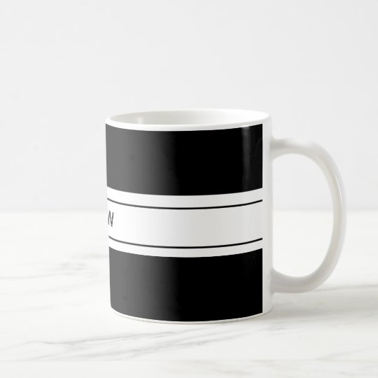 Mens Masculine Simple Black White Custom Monogram Coffee