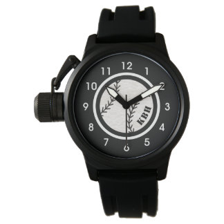 Men's Monogram Baseball Watch Black