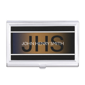 Men's monogram black white brown business card holder