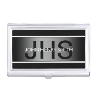 Men's monogram black white gray business card holder