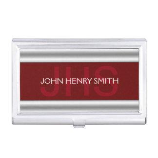 Men's monogram burgundy red business card holder