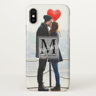 Men's Monogram Just Married Husband Full Photo iPhone X Case