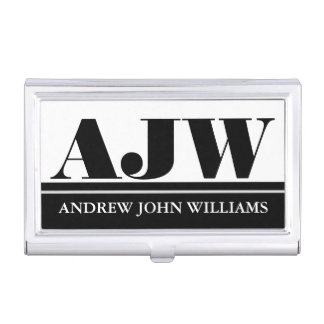 Men's monogram masculine black white business card holder