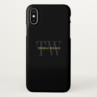 Men's Monogram Modern Minimalist Black & Gray iPhone X Case