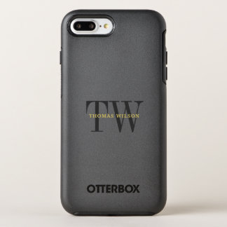 Men's Monogram Modern Minimalist Black & Gray OtterBox Symmetry iPhone 8 Plus/7 Plus Case