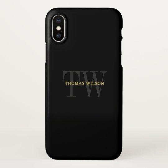Men's Monogram Modern Minimalist Black & Grey iPhone