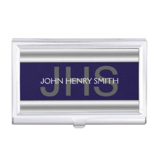Men's monogram navy blue gray business card holder