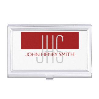 Men's monogram red white gray business card cases
