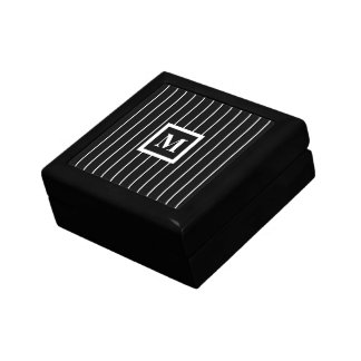 Mens Monogrammed Jewelry Boxes in Black