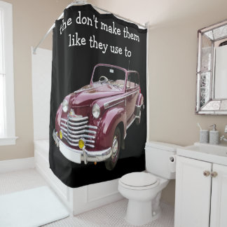Mens Old Time Car Theme Shower Curtain