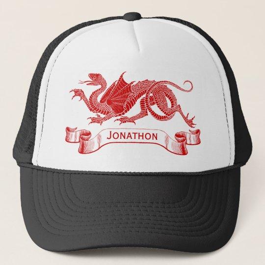 Men's Personalised Red Dragon Trucker Cap
