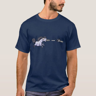 Men's Pony Shooting Chainsaws out of its Mouth T-Shirt