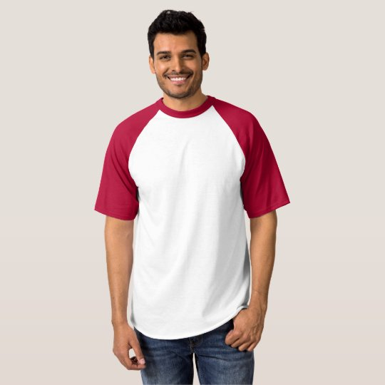 Raglan Baseball T-Shirt, White/Red
