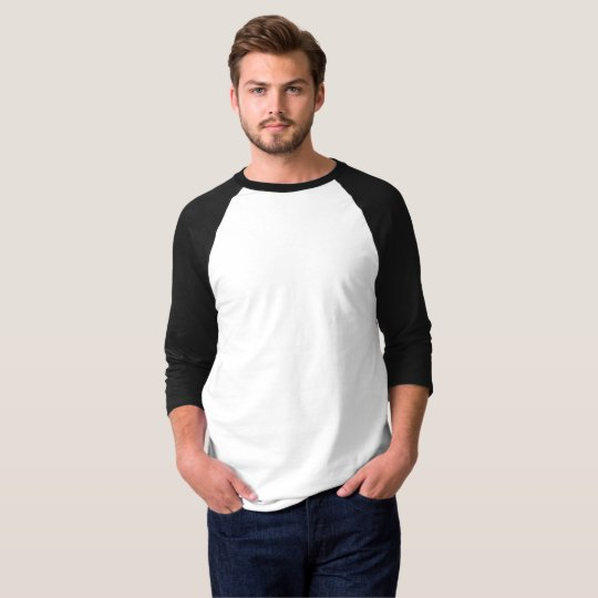Men's Basic 3/4 Sleeve Raglan T-Shirt, White/Black