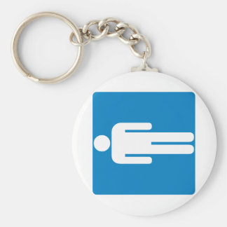 Men's Restroom Highway Sign Basic Round Button Key Ring
