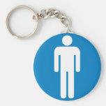 Men's Restroom Highway Sign Basic Round Button Key Ring