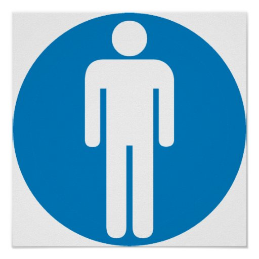 Men's Restroom Highway Sign Poster