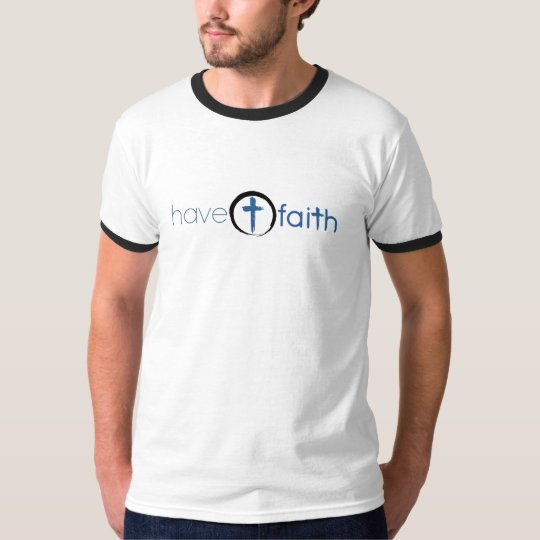 Men's Ringer T-Shirt Have Faith Blue Horizontal