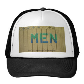 Mens Room Sign in lime green Hats