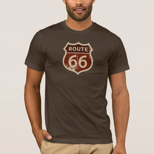 Men's ROUTE 66 BROWN SIGN T-Shirt