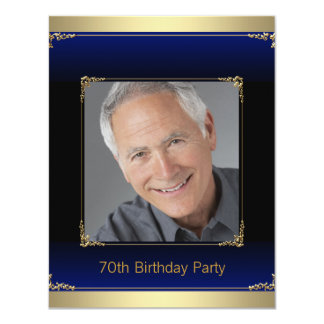 Mens Royal Blue and Gold Birthday Party Card