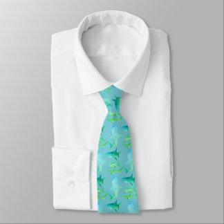 Mens Shark Tie-Aqua Blues & Greens Tie