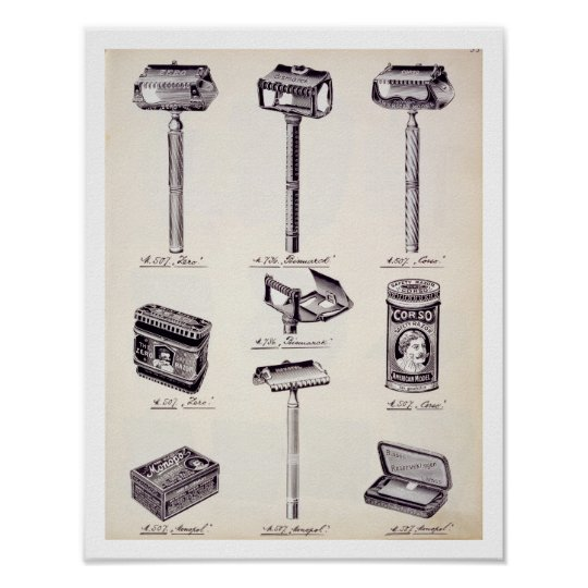 Men's shaving equipment, from a trade catalogue of poster