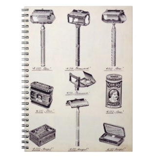 Men's shaving equipment, from a trade catalogue of spiral note book