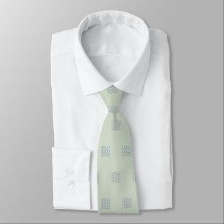 Men's silk tie, seafoam green, black etching tie