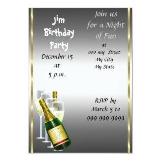 Mens Siver Birthday Party Invitation