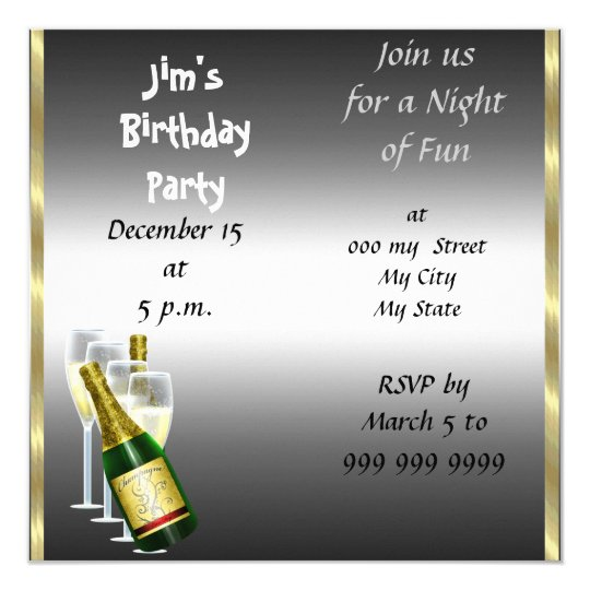 Mens Siver Birthday Party Invitation