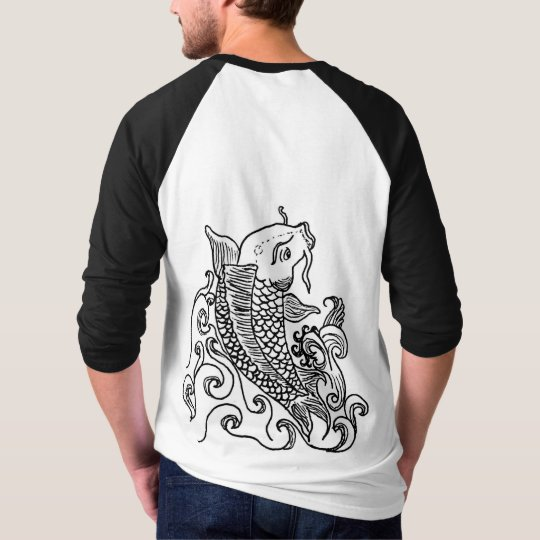 Men's sleeve raglan t-shirt koi fish