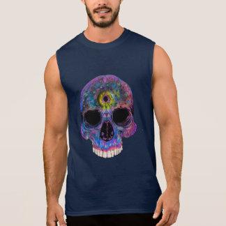 Men's Sleeveless Psychedelic Skull Illustration Sleeveless Shirt