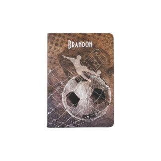 mens soccer ball goal player kicking passport holder