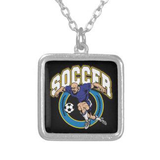 Men's Soccer Logo Square Pendant Necklace