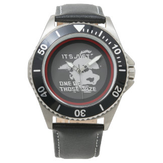 Men's Stainless Steel Black Leather Strap Watch