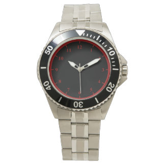 Men's Stainless Steel Bracelet Watch, Red Numbers Watch