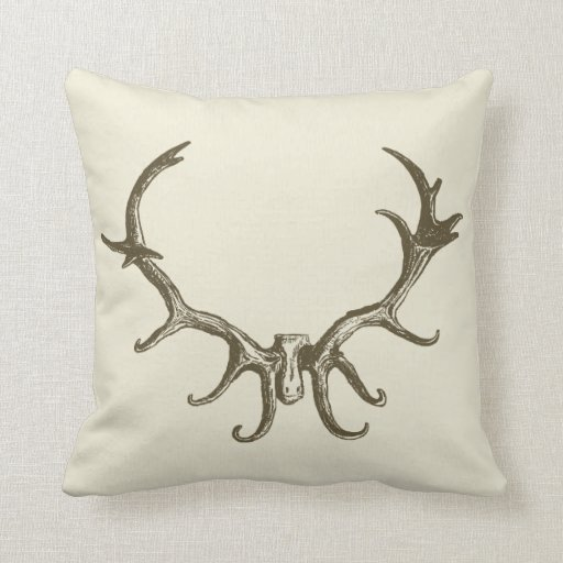 Men's Stylish Hunting Brown Deer Antler Retro Stag Pillows