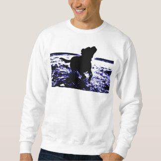 Men's sweatshirt black lab playing in water