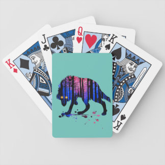 Mens Teen Boys Wolf Galaxy Star Forest Silhouette Bicycle Playing Cards