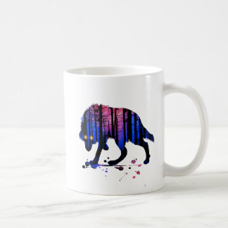 Mens Teen Boys Wolf Galaxy Star Forest Silhouette Coffee Mug