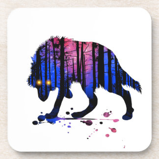 Mens Teen Boys Wolf Galaxy Star Forest Silhouette Drink Coasters