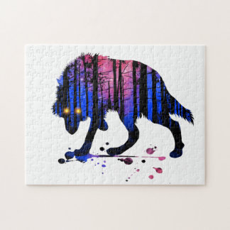 Mens Teen Boys Wolf Galaxy Star Forest Silhouette Jigsaw Puzzle