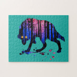 Mens Teen Boys Wolf Galaxy Star Forest Silhouette Jigsaw Puzzle