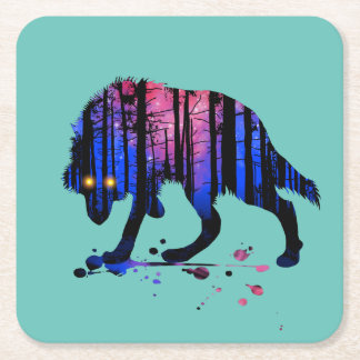 Mens Teen Boys Wolf Galaxy Star Forest Silhouette Square Paper Coaster