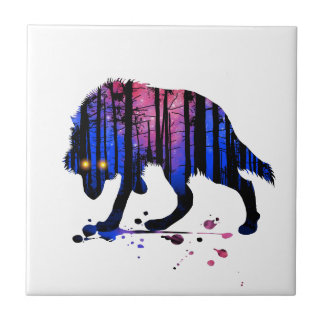 Mens Teen Boys Wolf Galaxy Star Forest Silhouette Tile